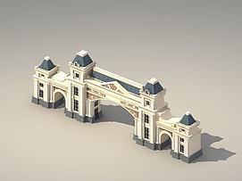 恒大经典法式大门3d模型
