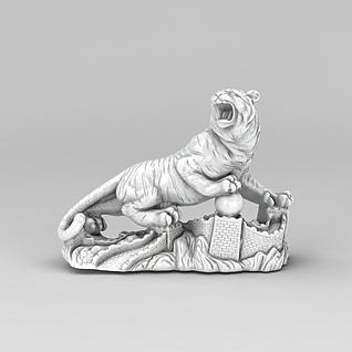 老虎摆件3d模型