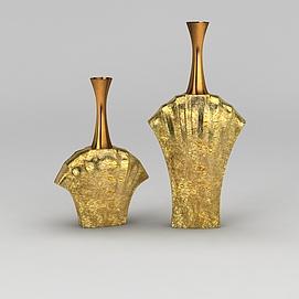 金色花瓶3d模型