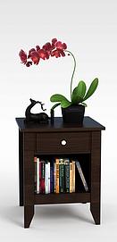 床头柜花卉组合3D模型