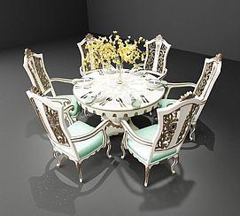 欧式圆餐桌椅子组合模型