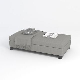灰色沙发凳3d模型