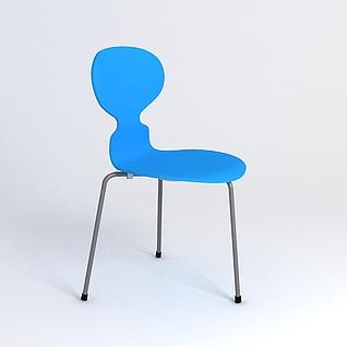 蓝色单椅3d模型