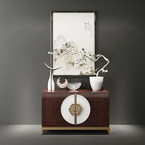 中式玄關端景柜模型3d模型