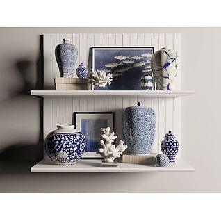 青花瓷花瓶装饰品3d模型