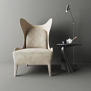 北欧沙发椅边几组合3d模型