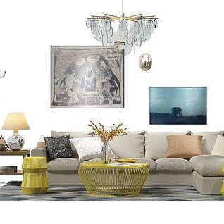 温馨客厅沙发茶几组合3d模型