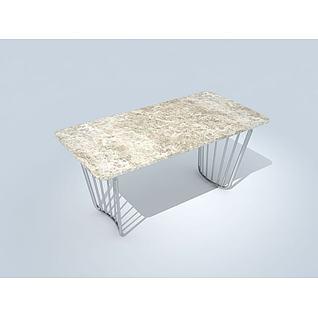 简易中式现代桌3d模型