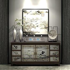 中式印花裝飾柜模型3d模型