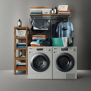 洗衣机置物衣架组合3d模型