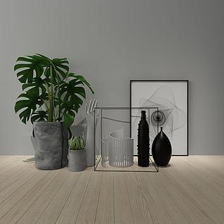 北欧装饰画花瓶组合3d模型