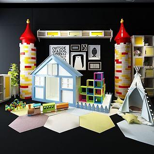 积木玩具组合3d模型