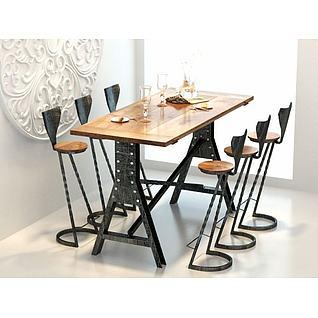 loft吧台桌椅3d模型