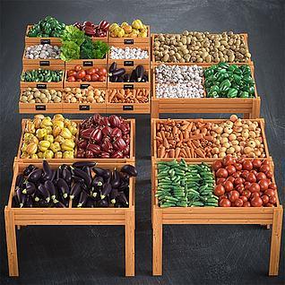 蔬菜水果货架3d模型3d模型