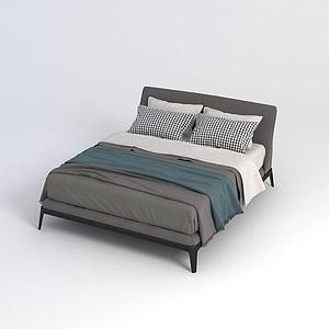 簡約雙人床3d模型
