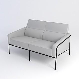 灰色简约沙发3d模型