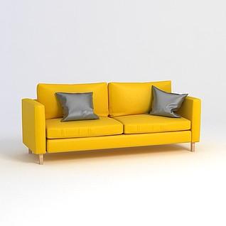 黄色双人沙发3d模型