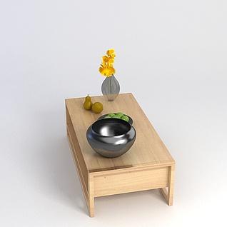原木桌子3d模型