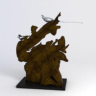 假山小鸟摆件3d模型