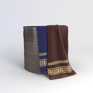 木桶毛巾组合模型
