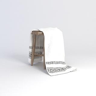 凳子毛巾组合3d模型