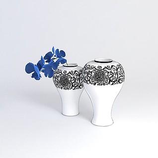 中式花瓶陈设品3d模型