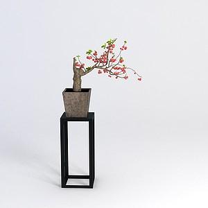 中式花幾花盆組合模型3d模型