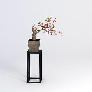 中式花几花盆组合3d模型
