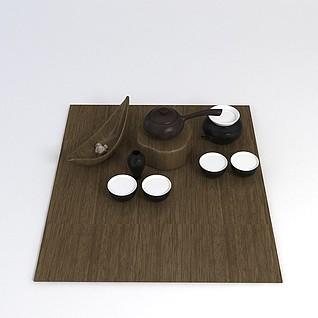 中式茶具3d模型