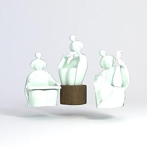 陶瓷人物摆件模型3d模型