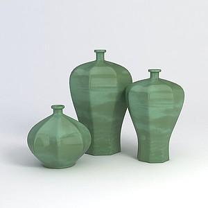 中式小口花瓶模型