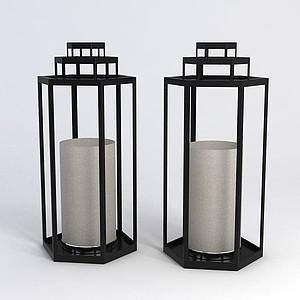 中式古典風格落地燈模型