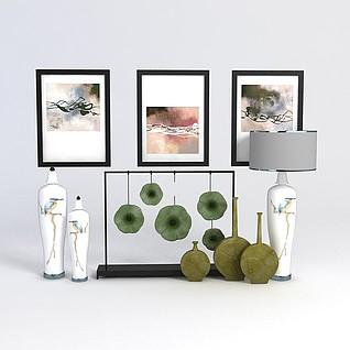 中式花瓶挂画组合3d模型