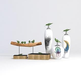 花瓶摆件组合3d模型
