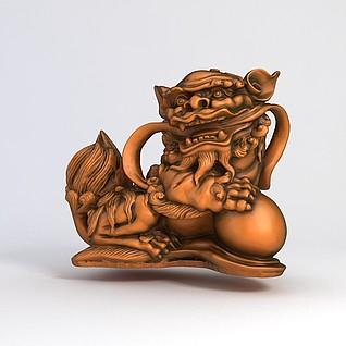 雕刻狮子装饰品3d模型