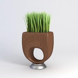 绿植花瓶3d模型