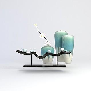 中式花瓶装饰品3d模型