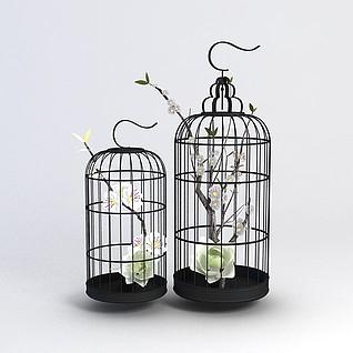 中式鸟笼装饰品3d模型