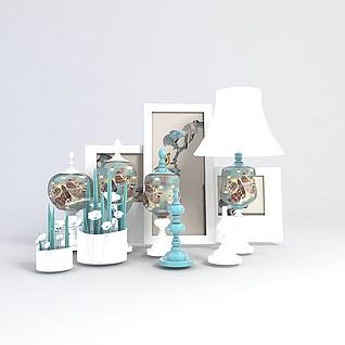 照片摆台装饰品组合3d模型