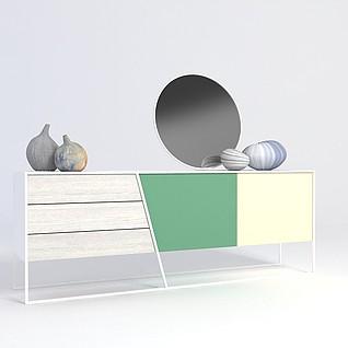 原木玄关台装饰品组合3d模型