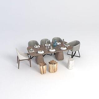 现代餐桌椅子组合3d模型