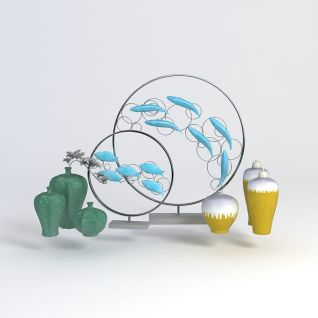 3d中式装饰花瓶摆件模型