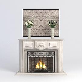 欧式壁炉模型