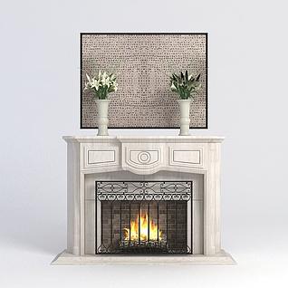 欧式壁炉3d模型