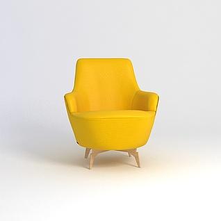 时尚黄色沙发椅3d模型