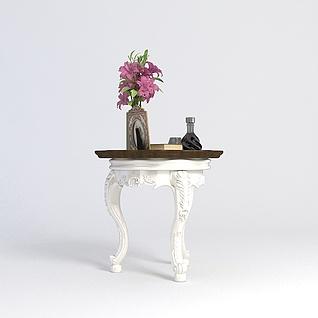 欧式花几装饰花瓶组合3d模型