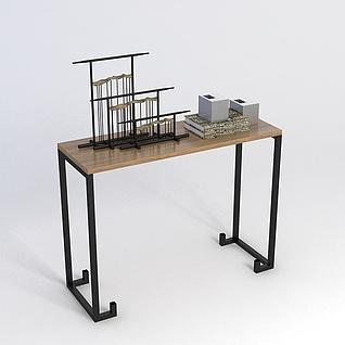 中式简约玄关桌3d模型