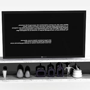 大理石电视柜电视组合模型