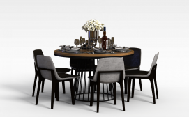 多人圆餐桌椅3D模型