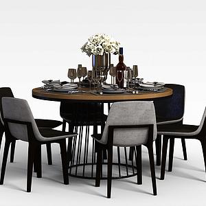 多人圓餐桌椅模型3d模型